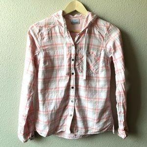Columbia Pink Plaid Hooded Button Down Shirt XS